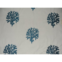 Indoor/Outdoor Coral Embroidery - Teal