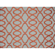 Indoor/Outdoor Squigy Embroidery - Coral