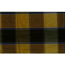 Artee Mustard Blue Silk Dupioni Check/Plaid
