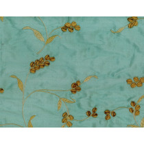 Artee Wheat Teal Bronze Silk Dupioni Embroidery